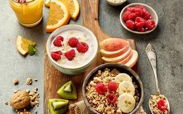 raspberry, apples, kiwi, breakfast, orange juice, muesli