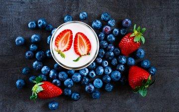 фрукты, клубника, ягоды, черника, завтрак, стакан, йогурт