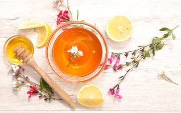 flowers, lemon, tea, honey