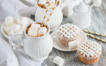 dessert, 2, cocoa, cupcakes, marshmallow, cream