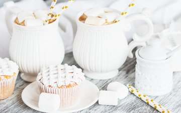 drink, decoration, cakes, cocoa, 4, cupcakes, marshmallow, cream