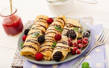 ягоды, завтрак, шоколад, 3, блинчики, блины, варенье