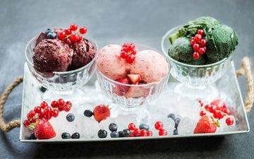 мороженое, клубника, лёд, ягоды, черника, сладкое, десерт