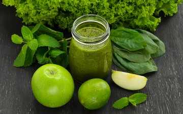 mint, apples, lime, drinks, glass, bank, smoothies, spinach