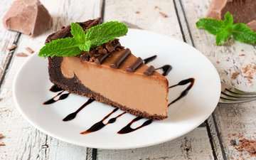 chocolate, cheesecake, cream