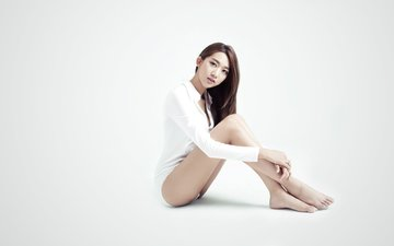girl, pose, look, legs, hair, asian, barefoot, lee min ji