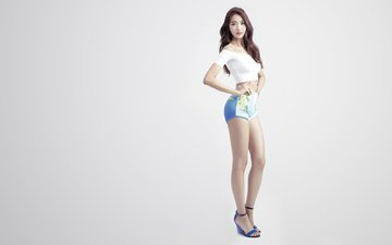 girl, pose, look, legs, hair, figure, asian, lee min ji