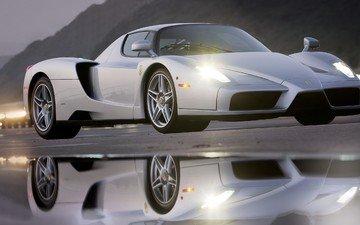 отражение, автомобиль, феррари, ferrari enzo