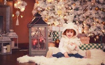new year, tree, mood, girl, child, holiday