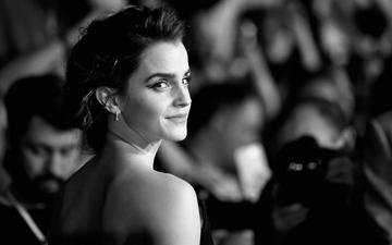 girl, look, black and white, model, face, actress, emma watson
