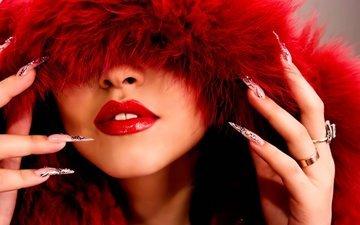 девушка, модель, лицо, руки, кольца, помада, мех, красные губы, маникюр
