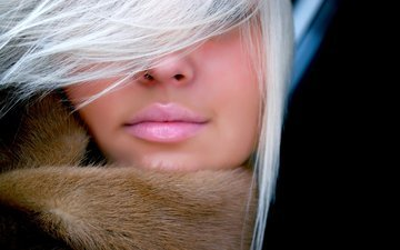 girl, blonde, portrait, model, hair, lips, face, pink lipstick