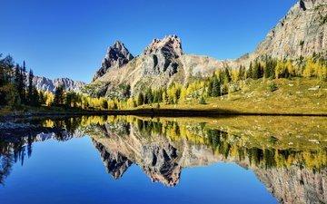 небо, трава, озеро, горы, отражение