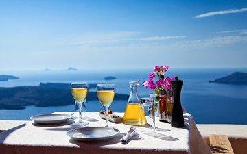природа, пейзаж, море, стол, греция, бокалы, санторини, сервировка