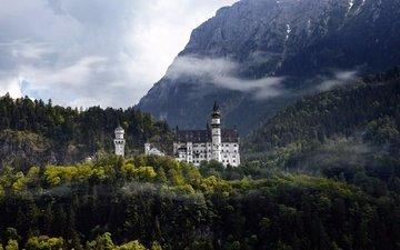 mountains, castle, autumn, germany, neuschwanstein