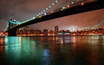 ночь, огни, город, нью-йорк, бруклинский мост