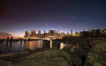 ночь, скалы, город, нью-йорк