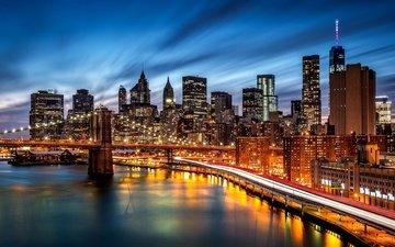 дорога, ночь, огни, город, небоскребы, нью-йорк, здание, манхэттен, бруклинский мост, бруклин