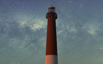 the sky, clouds, night, stars, lighthouse, tower