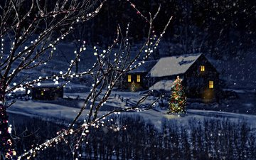 snow, nature, new year, tree, winter, branches, the city, home, christmas, garland