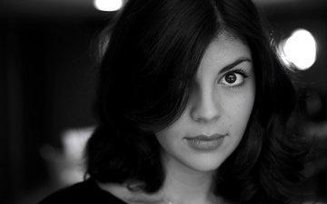 girl, portrait, look, black and white, hair, lips, face, nikki yanofsky, nikki janowski