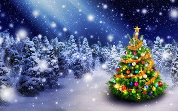 snow, new year, tree, winter, stars, holiday, christmas, christmas decorations