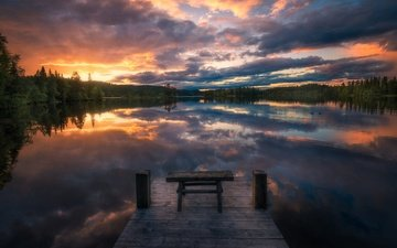 clouds, trees, lake, sunset, reflection, landscape, pier, norway, cl