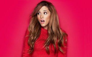 background, red, model, singer, makeup, hairstyle, brown hair, ariana grande, jumper, cosmopolitan