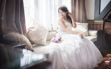 flowers, girl, dress, look, hair, wedding, holiday, asian, the bride
