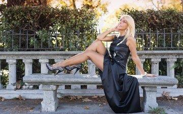 blonde, smile, model, legs, face, black dress, barbara
