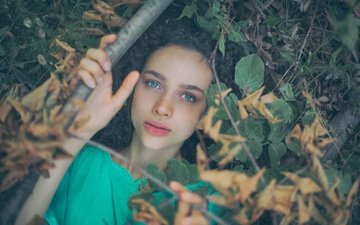leaves, girl, branches, look, the situation, hair, face, antonia