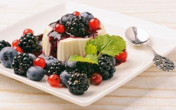 ягоды, черника, десерт, желе, ежевика, смородина, варенье