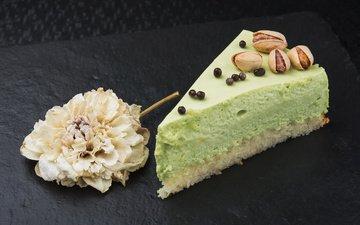 nuts, sweet, cake, dessert, pistachios, piece, piece tortie