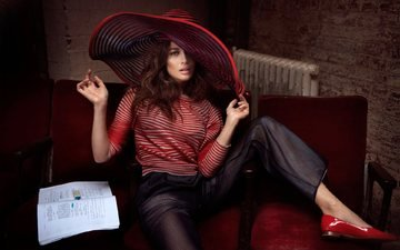pose, model, sitting, actress, shoes, olga kurylenko, hat, in the chair, pants, signe vilstrup