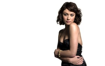 girl, look, model, face, actress, white background, bracelet, olga kurylenko, black dress