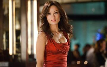 girl, look, hair, face, actress, red dress, celebrity, olivia wilde