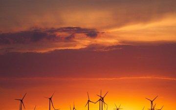 небо, облака, природа, закат, горизонт, ветряк, ветряные мельницы