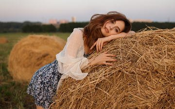 nature, girl, hay, summer, look, model, hair, face, posing, vyacheslav kolotilov