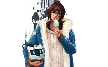 girl, ice cream, look, glasses, hair, the game, face, jacket, mei
