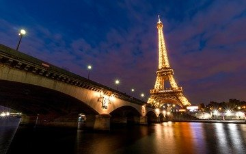 lights, the evening, river, bridge, the city, paris, france, eiffel tower, hay