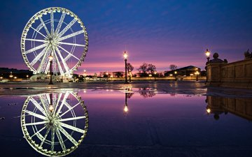 water, ferris wheel, the city, paris, france, place de la concorde, fontaine des fleuves