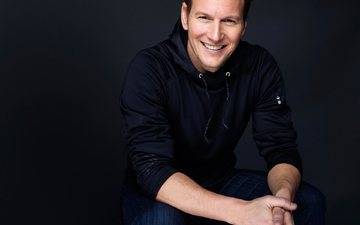 smile, look, actor, black background, face, male, patrick wilson