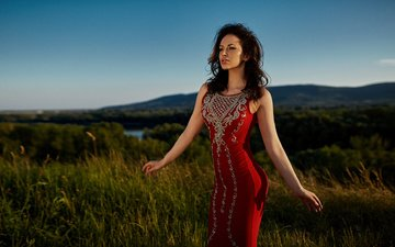 the sun, nature, girl, brunette, model, makeup, hairstyle, figure, red dress, peter paszternak, emese