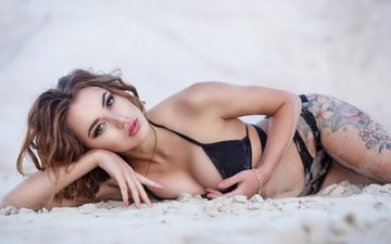 girl, sand, look, tattoo, hair, face, bikini, belly, pink nails