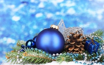 branch, decoration, spruce, beads, ball, bump