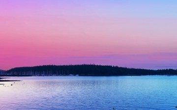 деревья, озеро, закат, горизонт