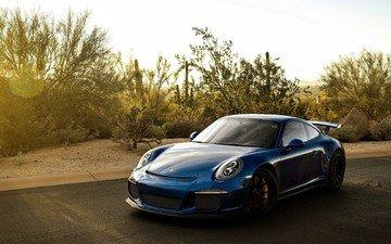голубая, автомобили, суперкар, порш