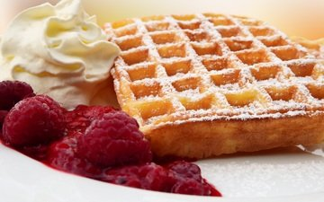 raspberry, jam, cream, cakes, powder, waffles