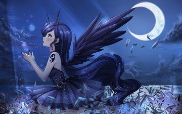 девушка, взгляд, луна, крылья, аниме, профиль, волосы, лицо, перья, мои маленькие пони, princess luna