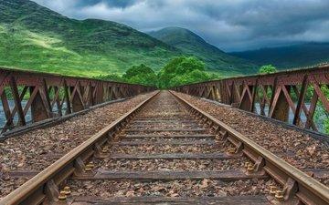 облака, деревья, горы, железная дорога